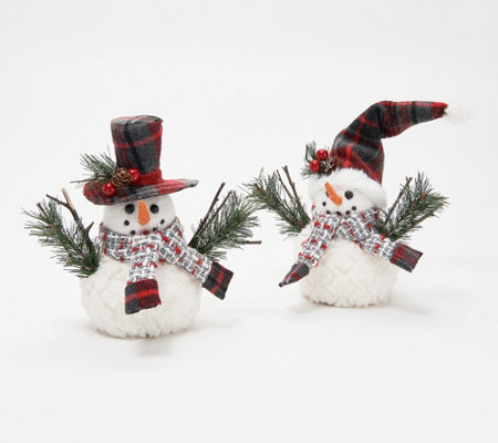S/2 Small Snuggable Snowmen with Plaid Hats by Valerie
