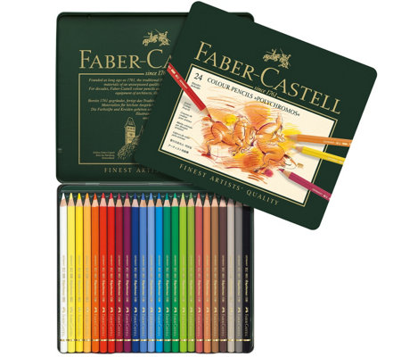 Faber-Castell Polychromos 24-Piece Colored Pencil Set with Ti