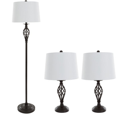 Lavish Home Table And Floor Lamps Set Of 3 Spiral Design