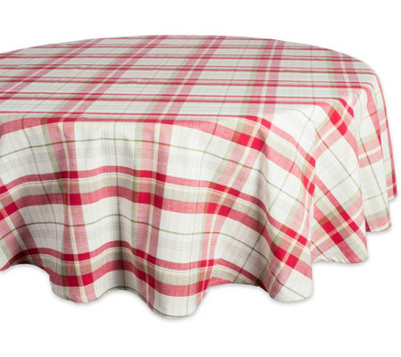 Design Imports Orchard Plaid Tablecloth 70 Round
