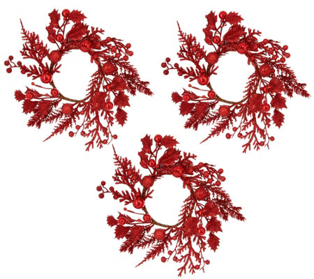 Set of 3 Glittered Berry & Holly Candle Rings by Valerie