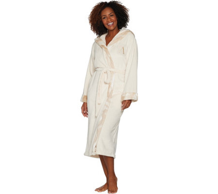 Dennis Basso Plush Robe w/ Faux Fur Trim & Monogram Initial