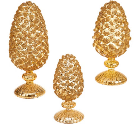 3-Piece Glittered Mercury Glass Pinecones on Pedestals