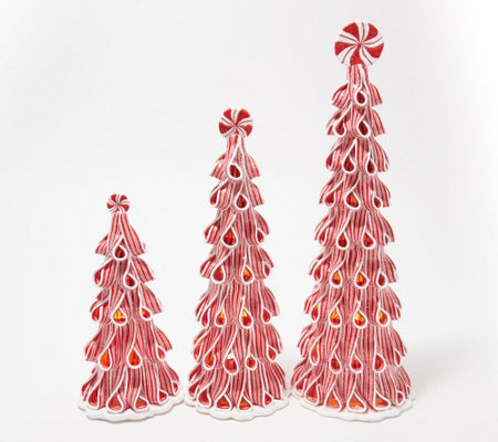 Set of 3 Illuminated Candy Ribbon Trees by Valerie