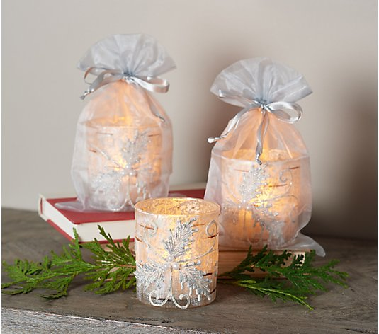 S/3 Illuminated Embossed Leaf & Pearl Votives w/ Sheer Bags by Valerie