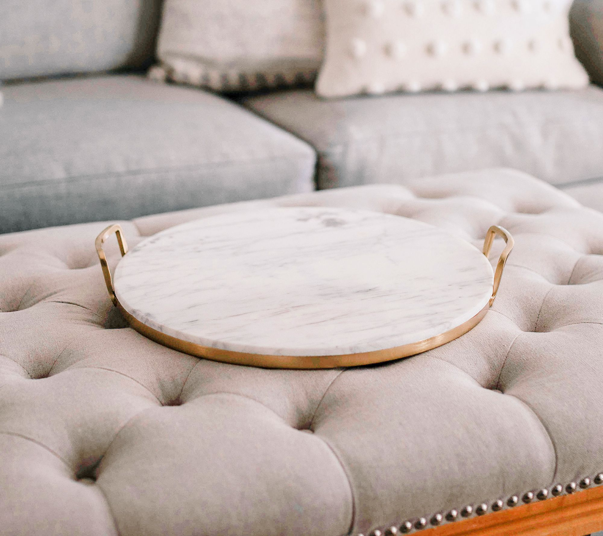 17 Round Marble Tray With Gold Accents By Lauren Mcbride Qvc Com