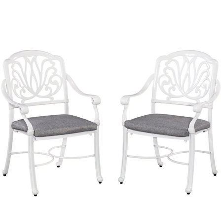 Floral Blossom White Arm Chairs w/ Cushions, Set of Two