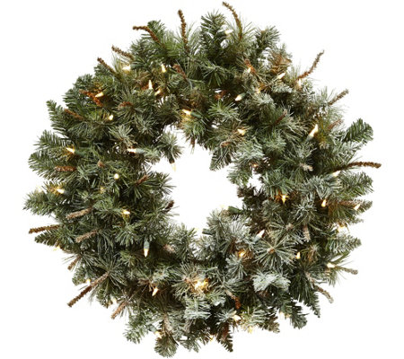 "30"" Lit Frosted Pine Wreath by Nearly Natural"