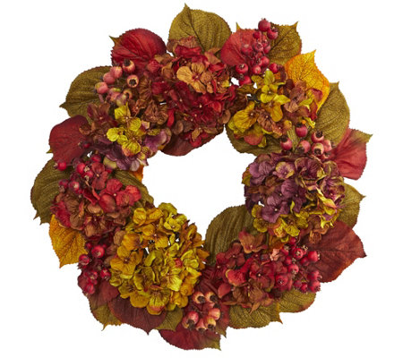 "24"" Fall Hydrangea Wreath by Nearly Natural"