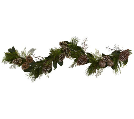 6' Pinecone and Pine Artificial Garland by Nearly Natural