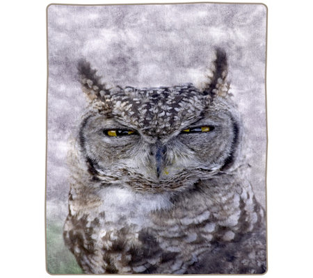 "Lavish Home 74"" x 91"" Heavy Fleece Blanket withOwl"