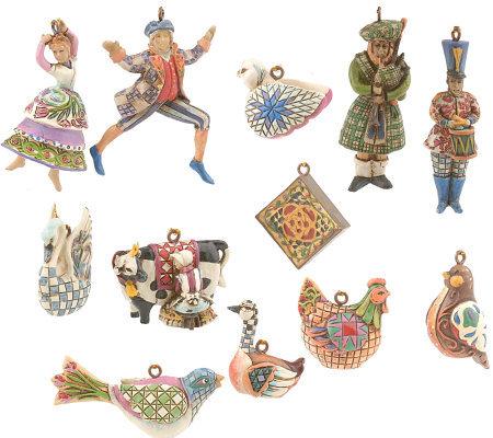 Twelve Days Of Christmas Ornaments.Jim Shore Heartwood Creek 12 Days Of Christmas Mini Ornaments Qvc Com