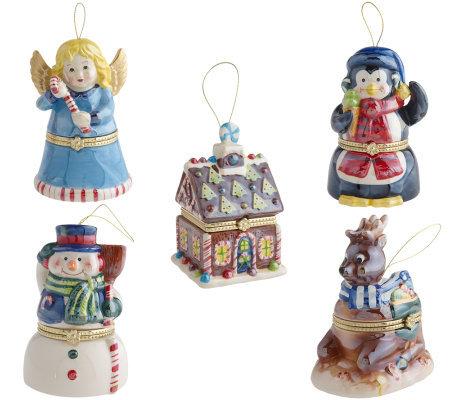 Mr. Christmas Set of 5 Porcelain Music Box Ornaments - Mr. Christmas Set Of 5 Porcelain Music Box Ornaments - Page 1 €� QVC.com