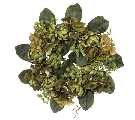 "18"" Artichoke Wreath by Nearly Natural"