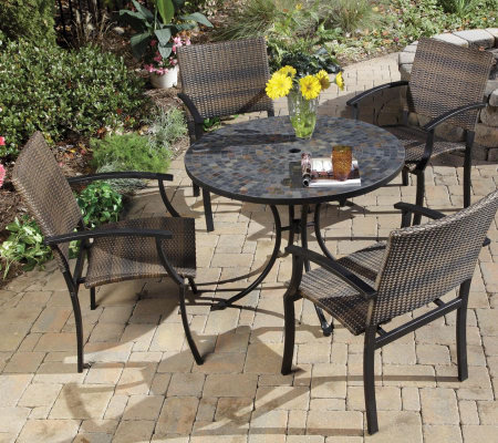 Home Styles Stone Harbor Outdoor Dining Table with 4 Armchair