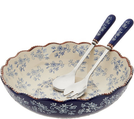 Temp-tations Floral Lace Serving Bowl With Utensils