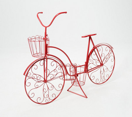 "48"" Metal Bicycle with Three Planter Baskets by Valerie"
