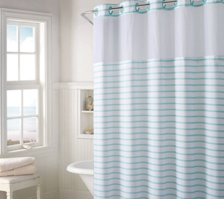 Hookless Charleston Stripe Shower Curtain with Built- In Liner