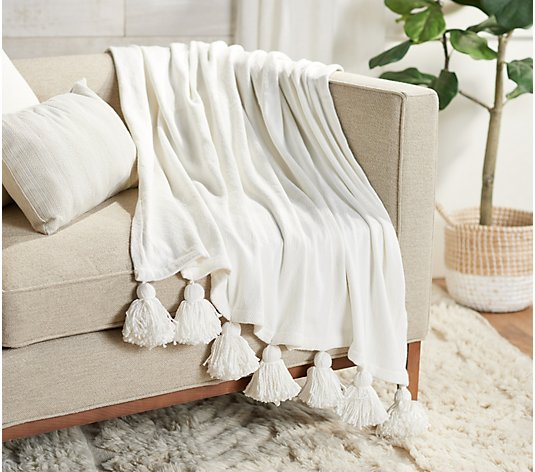 "Ivory Knit Throw 50"" x 60"" with Tassles by Lauren McBride"