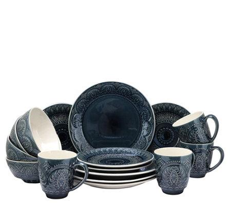 Elama Petra 16-Piece Stoneware Dinnerware Set  sc 1 st  QVC.com & Elama Petra 16-Piece Stoneware Dinnerware Set u2014 QVC.com