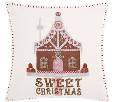 "Kathy Ireland Sweet House White 16"" x 16"" ThrowPillow"