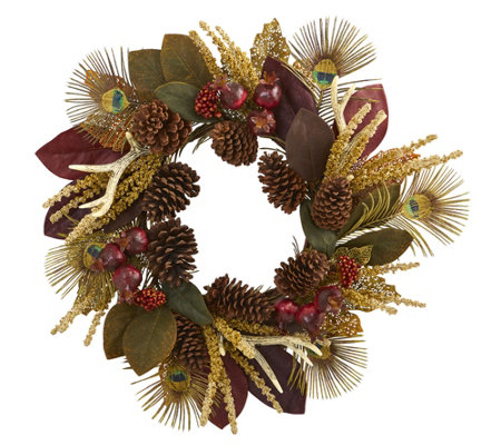 27 Magnolia Leaf Artificial Wreath By Nearly Natural