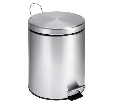 Honey-Can-Do Stainless Steel Round Five-Liter Step Trash Can