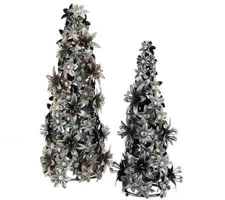 ED On Air Set of 2 Metal Floral Trees by Ellen DeGeneres