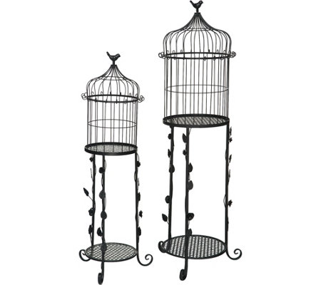 Set of 2 Indoor/ Outdoor Tables with BirdcageToppers by Valerie