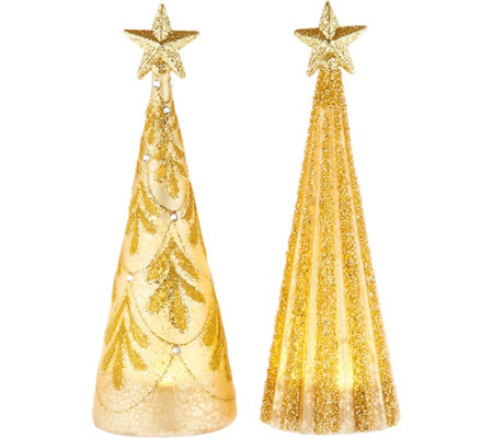 """As Is"" Kringle Express Set of 2 Lit Glass Shimmer & Sparkle Trees"