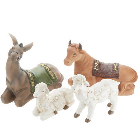 """As Is"" Indoor/ Outdoor 4-Piece Nativity Animal Display by Valerie"