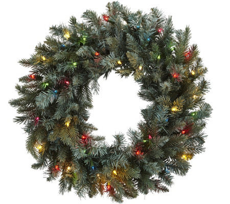"30"" Pine Wreath w/ Colored Lights by Nearly Natural"