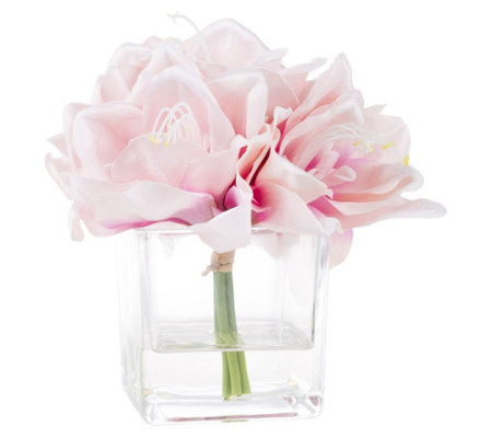 Pink Lily Artificial Flowers with Square Vase by Pure Garden