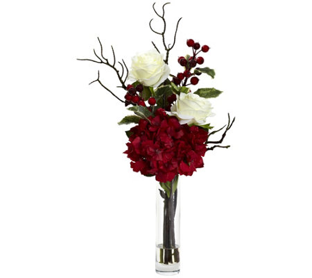 Merry Christmas Rose Hydrangea Arrangement by Nearly Natural