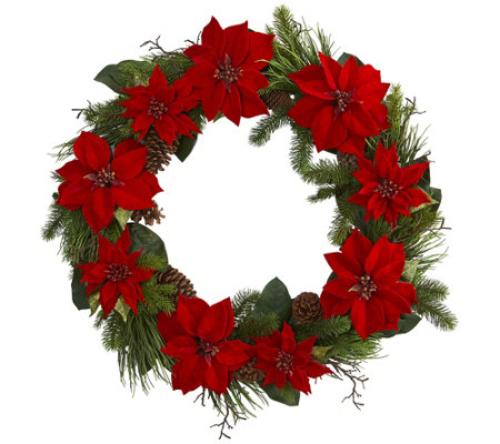 36 Poinsettia And Pine Wreath By Nearly Natural