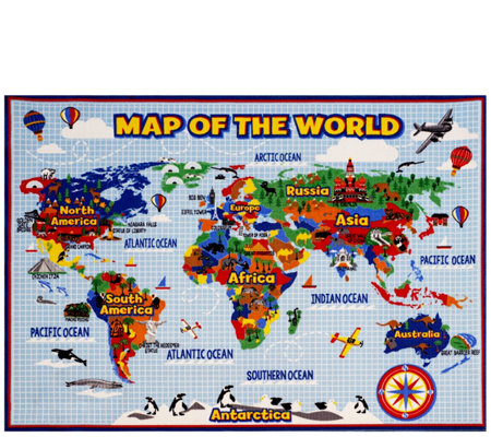 "Smithsonian Map of the World 5'3"" x 7'5"" Area Rug"