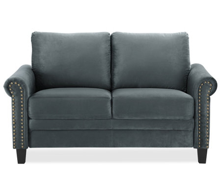 Worldstage 2-Seat Microfiber Loveseat, Charcoal
