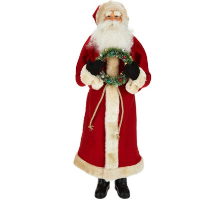 """As Is"" 25"" Oversized Santa Figure with Bottlebrush Wreath"