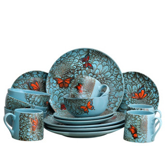 Elama Butterfly Garden 16-Piece Stoneware Dinnerware Set - H295736  sc 1 st  QVC.com & Sets u2014 Dinnerware u2014 Tabletop u0026 Bar u2014 Kitchen u0026 Food u2014 QVC.com