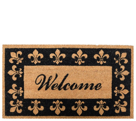 Welcome Fleur De Lis 18 X 30 Coir Doormat With Nonslip Back