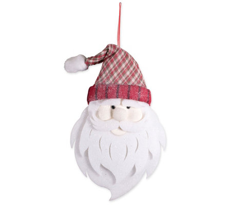 DII Large Glittering Santa w/ Plaid Hat Decoration