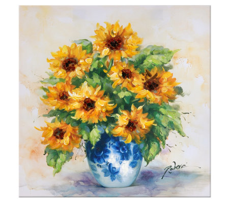 "Canvas Sunflower in China Vase Painting 25"" x 25"" by Valerie"