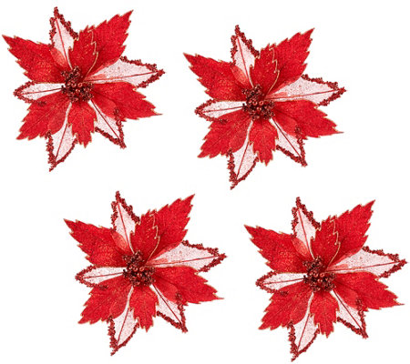 Set of 4 Glitter Poinsettia Clips by Valerie