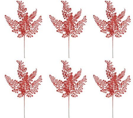 Set of 6 Glittered Leaf Maiden Hair Picks by Valerie