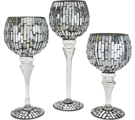 """As Is"" Anniversary Set 3 Illuminated Mosaic Goblets by Valerie"