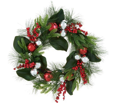 Indoor Outdoor Illuminated Ornament Pine Berry Wreath By Valerie Qvc
