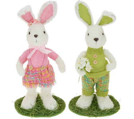 "18"" Soft White with Woven Plaid Bunny Couple by Valerie"