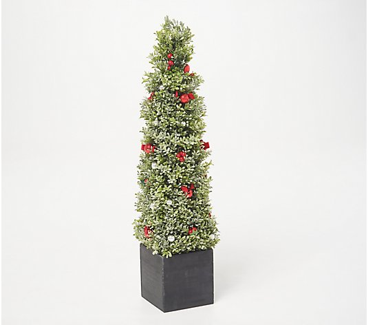 "36"" Glistening Boxwood Topiary with Berries & Ornaments by Valerie"