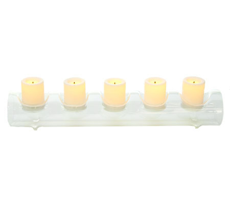 Candle Impressions Fillable Glass Log w/ 5 Flameless Votives