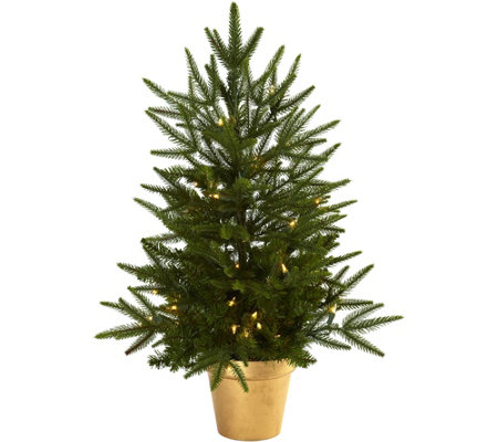 2 5 Lit Christmas Tree In Golden Planter By Nearly Natural